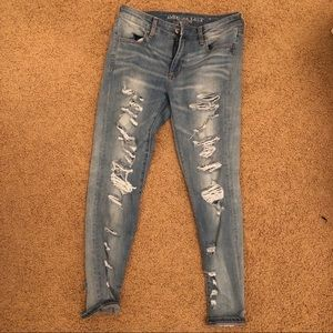 Medium wash ripped jeans from AEO
